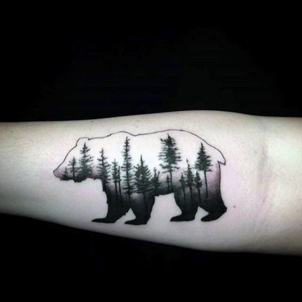 Black Ink Trees Male California Bear Forearm Tattoo