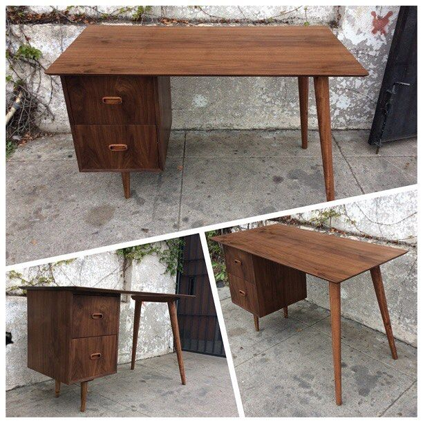 "Graze your eyes on this sleek Handmade Mid Century Style 2 Drawer Desk by #californiamodernwoodworks, 48""w x 24""d x 30""h, $750 #midcentury #midcenturystyle #midcenturymodern #midcenturyfurniture #sleekfurniture #sunbeamvintage #greaterlosangeles #highlandparkca #losangeles #northeastlosangeles"