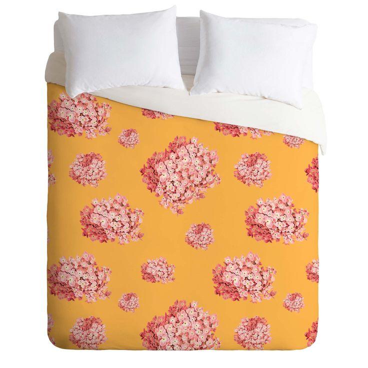 Laura Redburn Hydrangea Orange Duvet Cover   DENY Designs Home Accessories