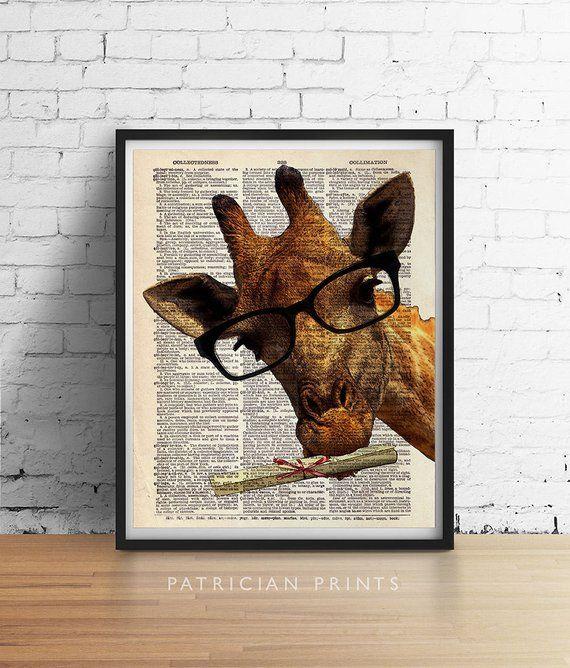 Graduation Giraffe Glasses Art Print Poster Gifts For Grads College Safari Animal Wall Decor Vintage Dictio Giraffe Crafts Posters Art Prints Animal Wall Decor
