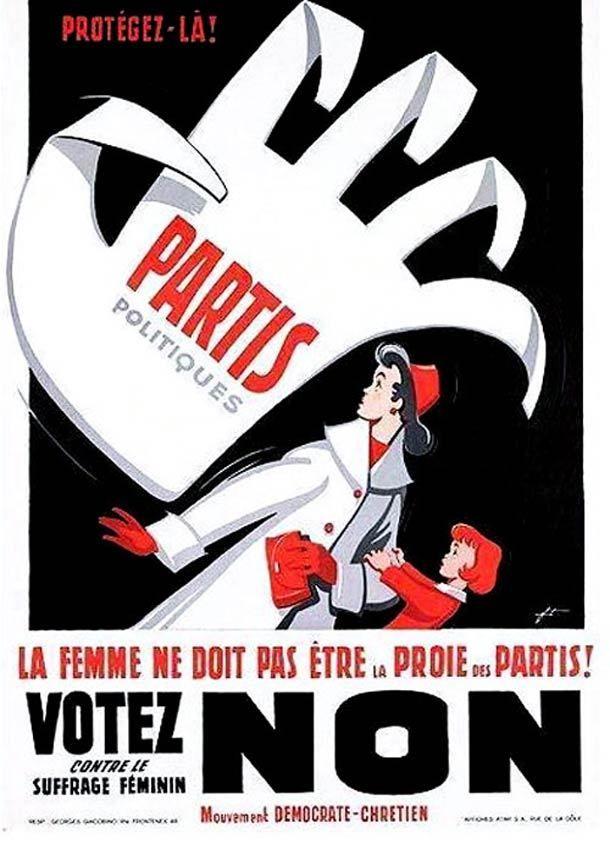 La femme ne doit pas être la proie des partis! Votez non contre le suffrage féminin. - Mouvement Démocrate-Chrétien