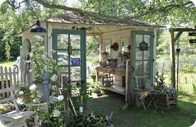 Love this Garden shed - The old aqua blue doors, the potting bench & chandelier inside, all the details and of course the fact that you can walk right through it is simply fabulous! Description from pinterest.com. I searched for this on bing.com/images