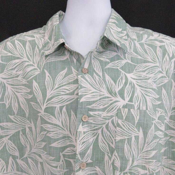 Quiksilver Waterman XL Green Leaves Reverse Print  Hawaiian Aloha Shirt Cotton  #Quiksilver #Hawaiian