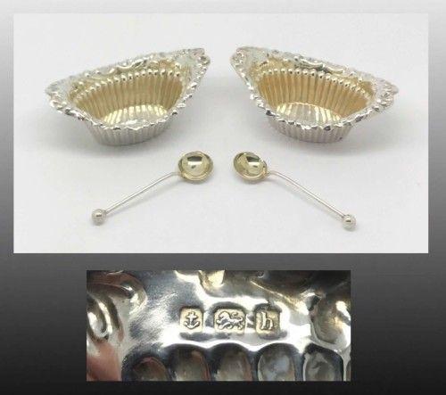Buy Solid Silver~Salt Spoons & Salt Cellars~Art Nouveau~Hallmarked Birmingham 1907~for R500.00