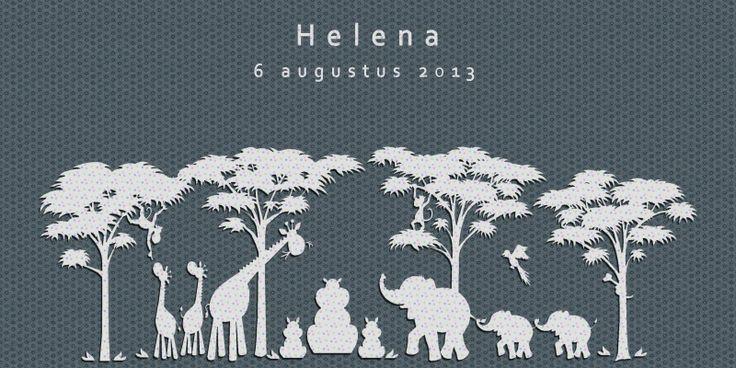 Geboortekaartje dieren Afrika meisje of jongen - olifant - Pimpelpluis https://www.facebook.com/pages/Pimpelpluis/188675421305550?ref=hl (# simpel - eenvoudig - retro - naam - origineel - blauw - dieren - giraf - olifant - boom - bomen - silhouette)