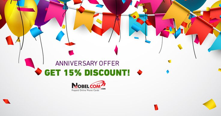 #AnniversarySale: 15% OFF all phone cards and NobelApp Credit on www.NobelCom.com using promo code 15HOT at checkout until 20th of August.