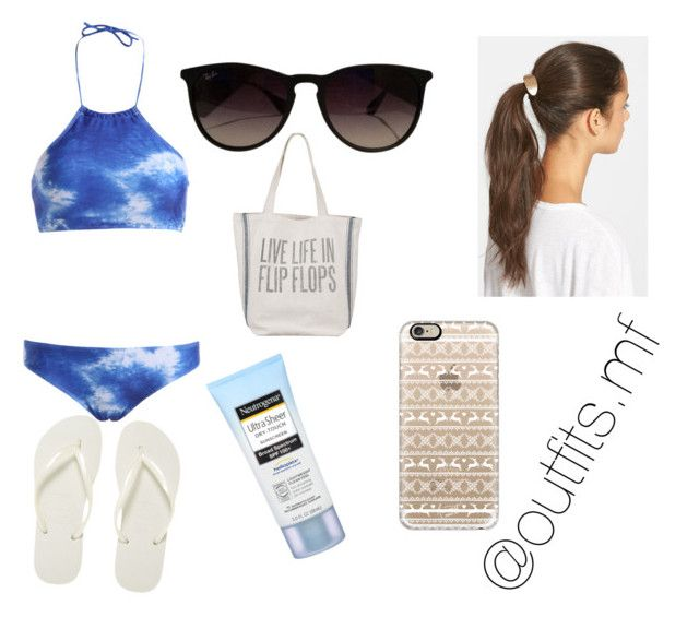 """""""beach/pool"""" by outfits-mf ❤ liked on Polyvore featuring Havaianas, Tasha, Casetify, Dot & Bo, Ray-Ban, Neutrogena, women's clothing, women, female and woman"""