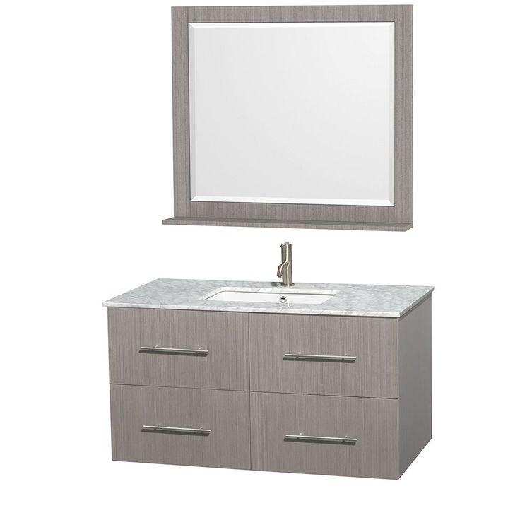 Contemporary Art Sites Wyndham Collection Centra Grey Oak inch Single Carrera Marble Bathroom Vanity with Mirror