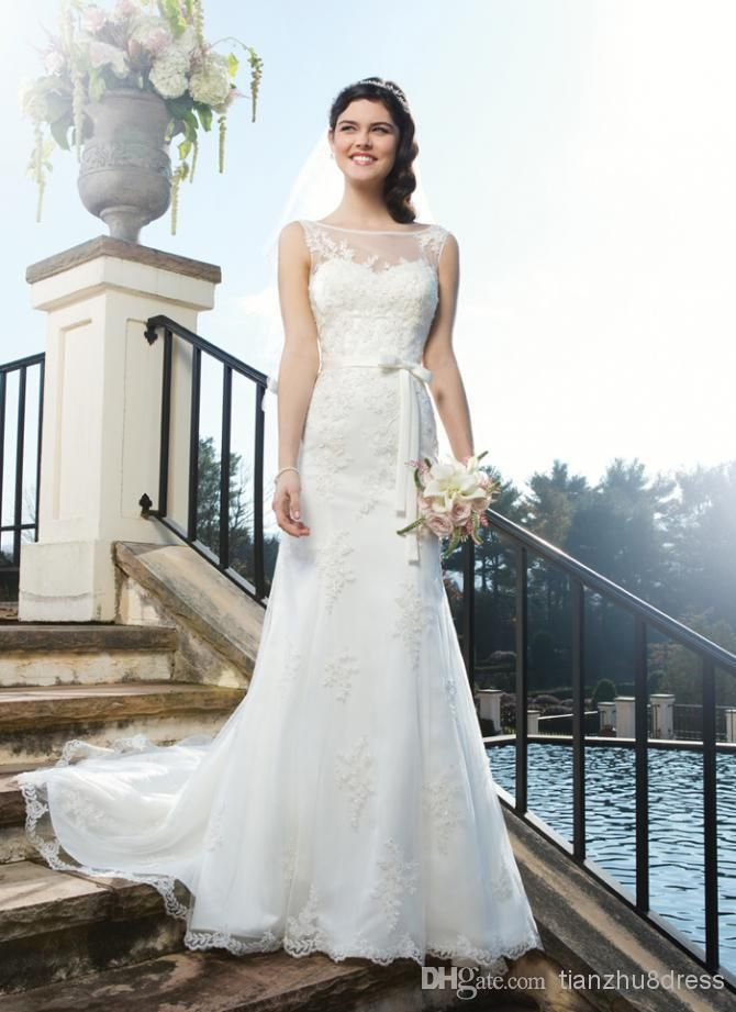 Wholesale White Lace - Buy 2014 New Arrival Mermaid White Lace Garden Wedding Dresses with Sheer Boat Neck Lace Embellishment Chapel Train, $134.73 | DHgate