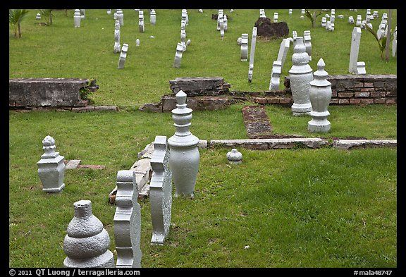 Grave headstones without ornaments, Kampung Kling. Malacca City, Malaysia
