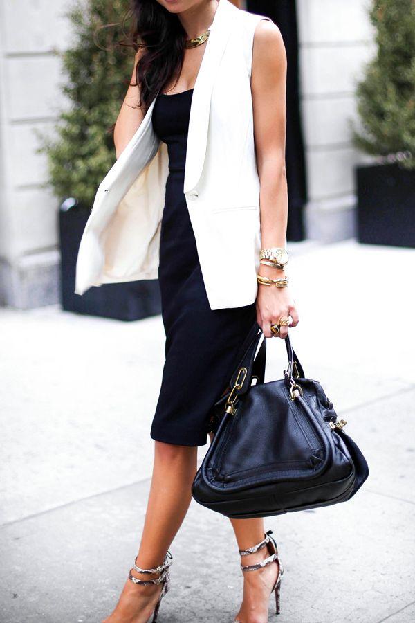 Black, White Vest * Chloe Bag.