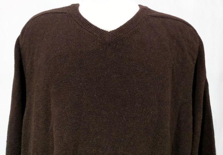 Faconnable Men Knit Sweater V Neck Alpaca Cotton Brown Long Sleeve Medium #Faconnable #VNeckPullover