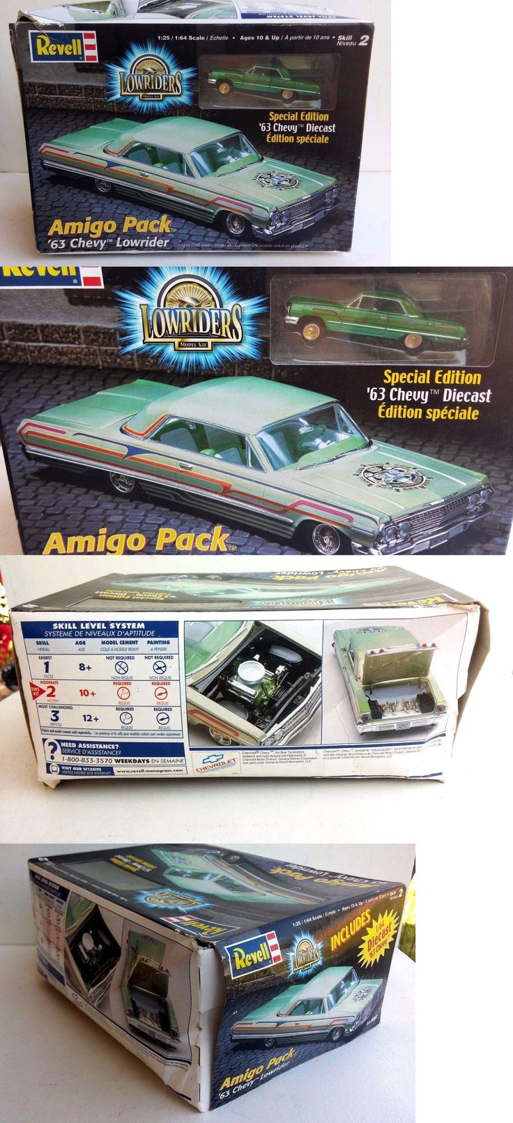 Other Sports Car Models and Kits 2583: New In Box~Revell Amigo Pack 63 Chevy Lowrider-W Diecast~#85-6682~1:25 Scale -> BUY IT NOW ONLY: $53.95 on eBay!