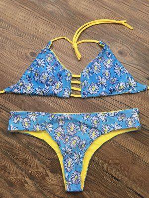 Halter Cut Out Floral Bikini Set - Blue L