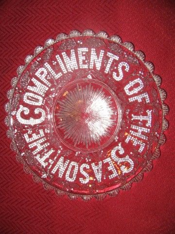 Victorian Pressed glass plate with 'The Compliments of the Season' by George Davidson