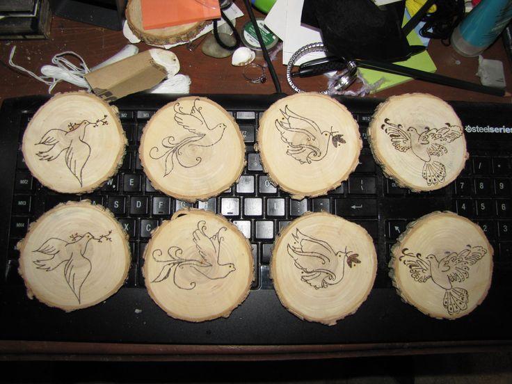 wood burned Dove coasters