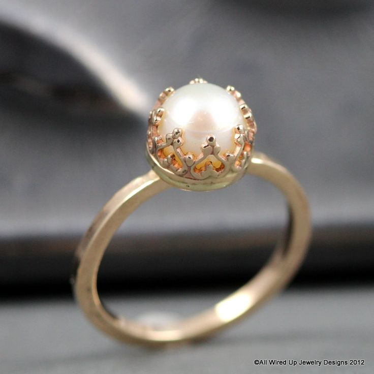 14k Gold Pearl Ring - Pearl Engagement Ring. $285.00, via Etsy.