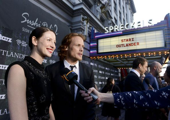 """Actress Caitriona Balfe and actor Sam Heughan attend the Starz Series """"Outlander"""" Premiere - Comic-Con International 2014 at Spreckels Theatre on July 25, 2014 in San Diego, California."""