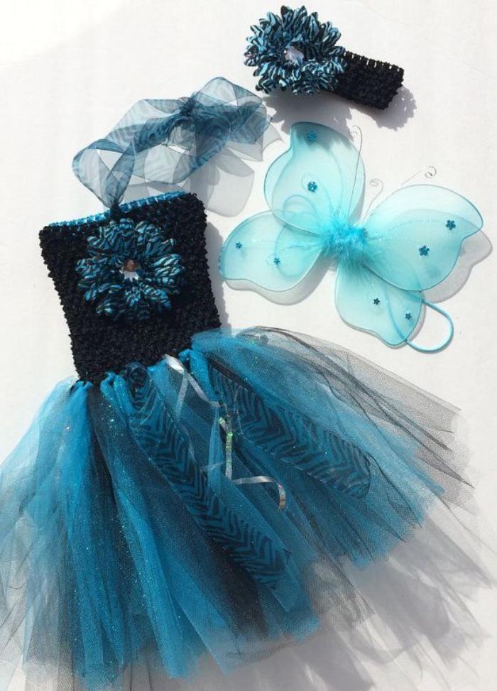 déguisement fée clochette, robe jolie en deux nuances du bleu