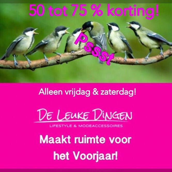 Wij maken ruimte voor het voorjaar!!!  ALLEEN vrijdag & zaterdag 50 t/m 75 % KORTING in de shop @Nijmegen!  www.deleukedingen.nl #korting #kleding  #nijmegen #daalseweg228
