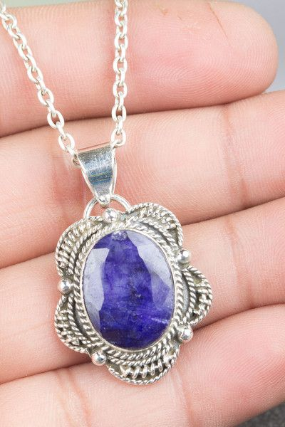 Sapphire Jewellery – Lovely Handmade Sapphire Silver Gemstone Necklace – a unique product by ArtisanJewellery on DaWanda