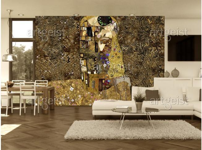 Fototapete von Klimt inspiriert - eine perfekte Wanddekoration für die Kunstliebhaber. #fototapete #fototapeten #home #decor #wallpapers #klimt #kuss #kunst