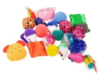 Cat toys:  felt mice, jingle balls, feather wands.  NO CATNIP PLEASE.   (some of the toys in this link contain catnip - we are just using the picture)