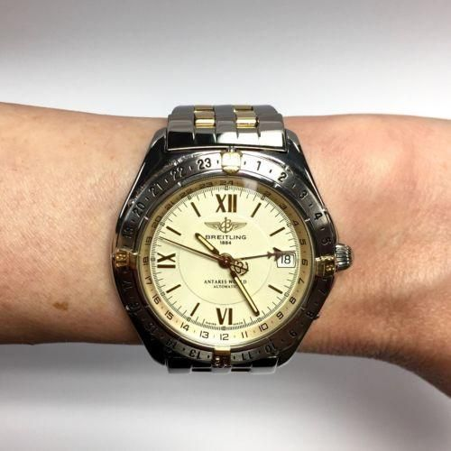 39.5mm BREITLING 1884 ANTARES WORLD 18K Yellow Gold & Stainless Steel Mens Watch