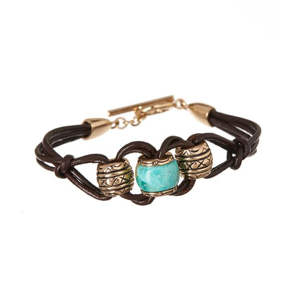 Barse Turquoise & Bronze Engraved Leather Bracelet (39 CAD) ❤ liked on Polyvore featuring jewelry, bracelets, leather bracelet, genuine leather bracelet, engraved jewelry, pandora jewelry and bronze bracelet