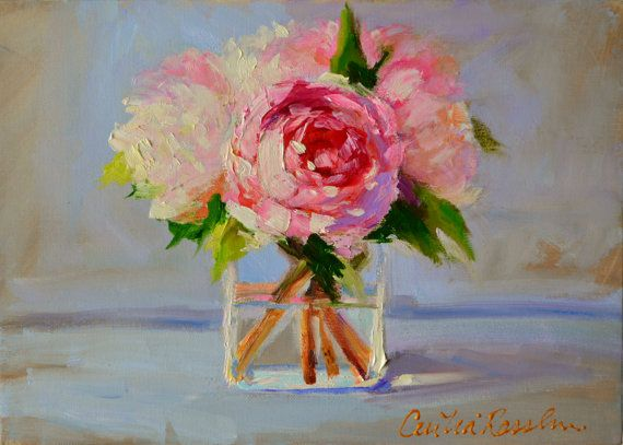 Art Print Of Original Oil Painting Of Peony Blossoms Soft Blues And Pinks Square Glass Vase
