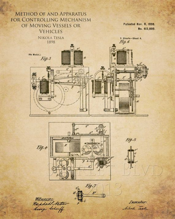 Nikola Tesla Controlling Mechanism of Moving Vessels patent art print…
