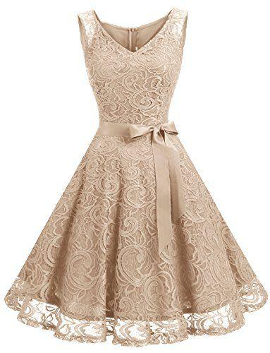 Dressystar DS0010 Gown femme soirée/demoiselle d'honneur/bal Col en V sans manches dentelle avec une ceinture Champagne XL