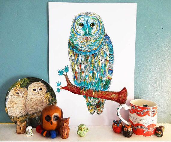 A3 Print Owl Gift Barred Owl Illustration by SophiasIllustration