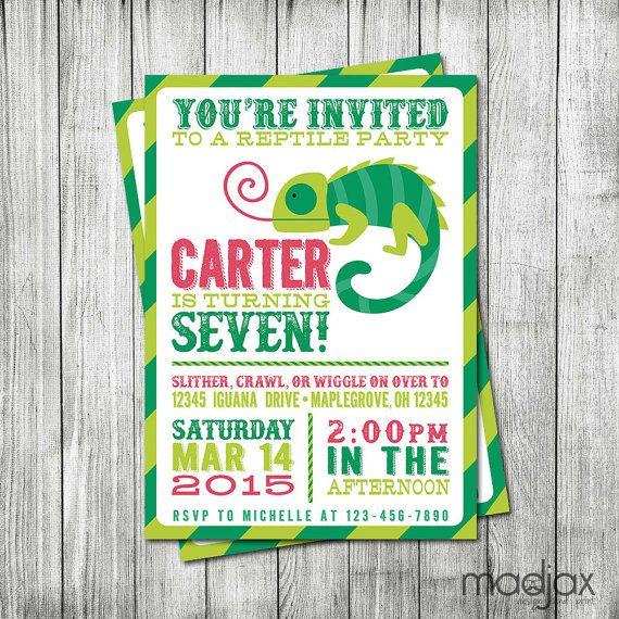 Reptile Birthday Party Invitation - Lizard Birthday Invite - MadJax Design and Print - Etsy