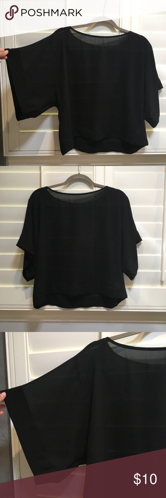 LF see through black blouse Super cute, in perfect condition! Can be dressed up or dressed down LF Tops Blouses