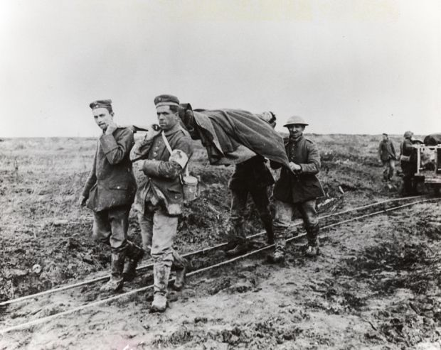 Bringing in the wounded from the battlefield - Canadian soldiers at Vimy Ridge, April,1917.