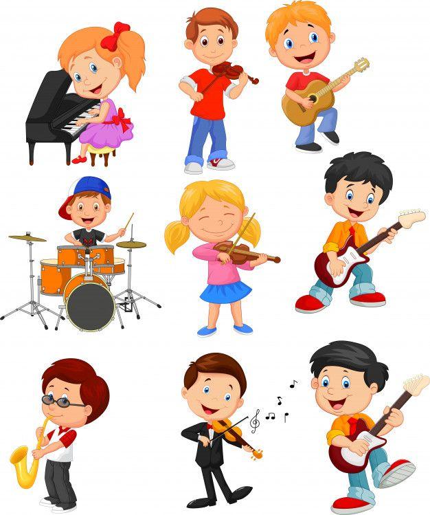 Desenhos Animados Criancinhas Tocando Musica Vetor Premium Brincadeiras Para Criancas Ilustracao Da Musica Quadros De Recados De Bebe Menino