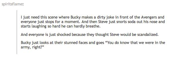 Oh God, the army.  *snorts*  How long did it take for Steve to stop saying fondue?