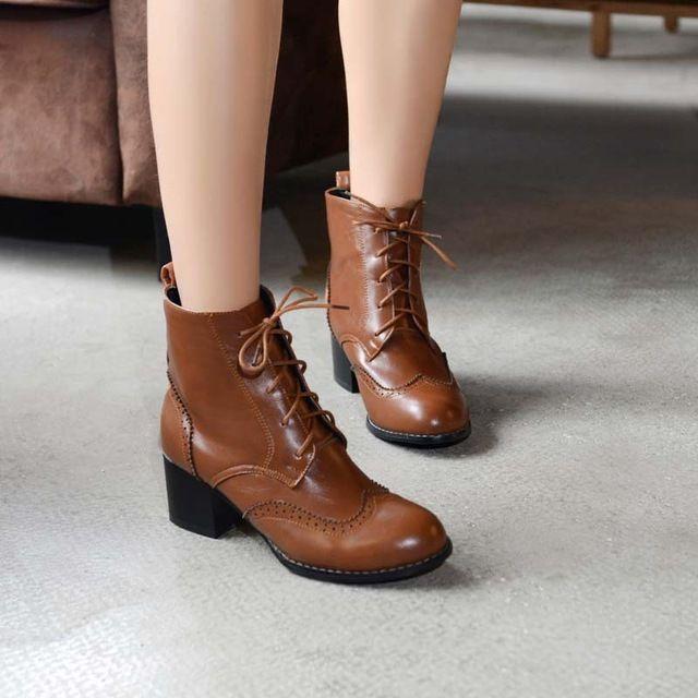 airfour design de mode vintage fille moto bottes lacent med talons plate forme cheville bottes pour