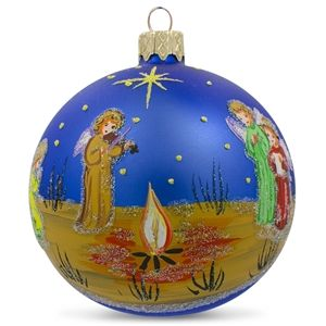 Angels in the Night Glass Ball Religious Christmas Ornament Holiday Gift Idea