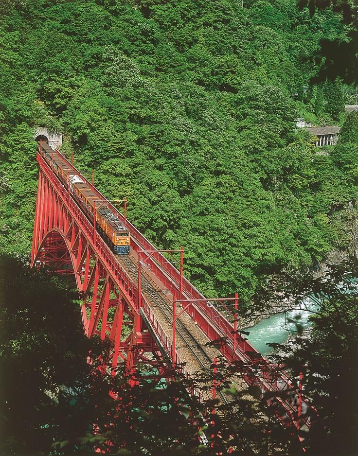 黒部峡谷のトロッコ電車に揺られながら見る紅葉は絶景です。