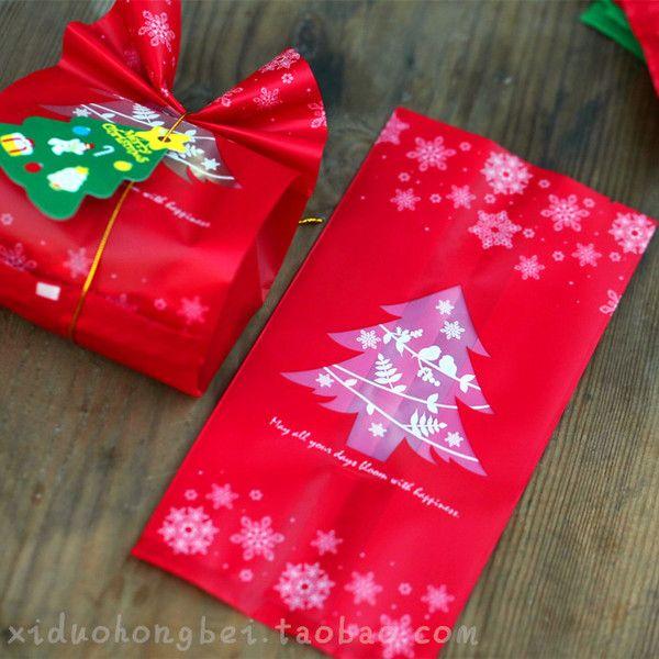 День красные и зеленые матовые сумки Новый год Валентина печенья запеченные полосы карманные подарочные пакеты продаются два пять выборов