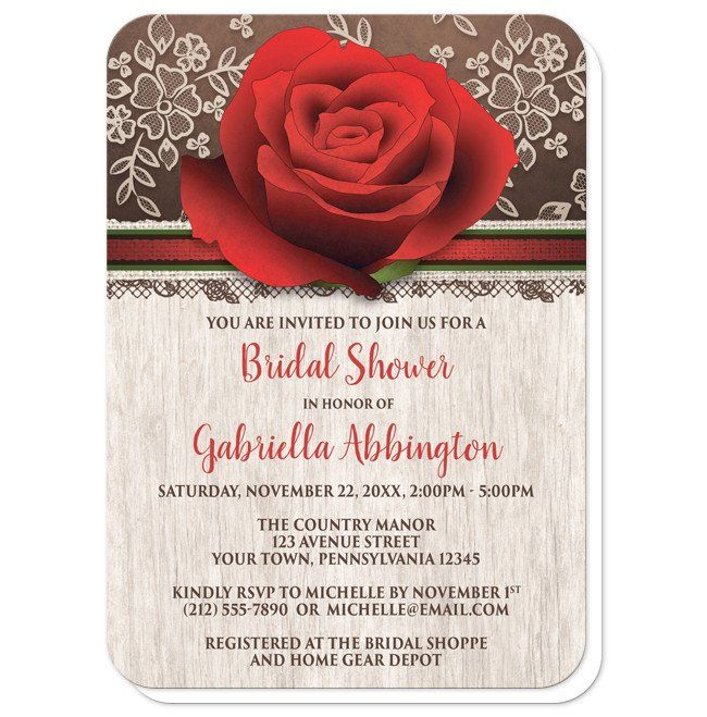 Rustic Bridal Shower invitations with a red rose over a rich brown background with cream lace. Your details are printed in red and brown over light wood.