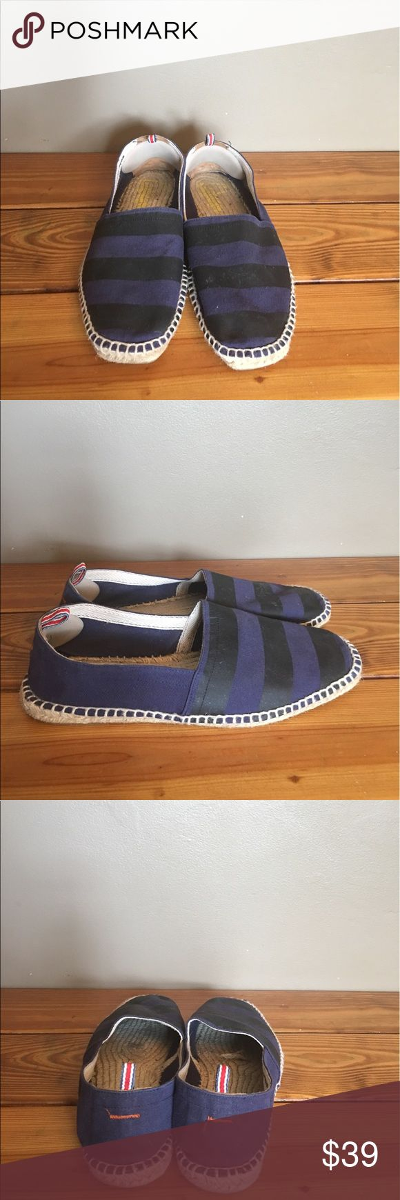 Castaner Espadrilles Canvas Slip Ons US 11 Euro 44 Castaner Espadrilles Canvas Slip Ons US 11 Euro 44. Navy Blue and Black Stripes. Purchased from Mr. Porter and kept in excellent pre owned condition. Handmade in Spain. Castaner Shoes Loafers & Slip-Ons