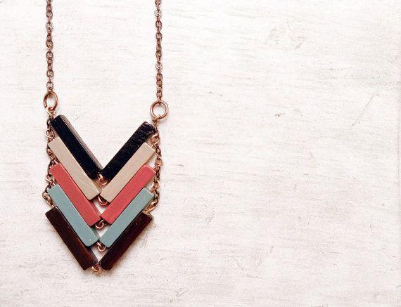 Wood Chevron Necklace // FISHBONE // Minimal Necklace // Mint Black Hand-Painted Pendant // Modern Jewelry // Modern pendant // Wood Jewelry...