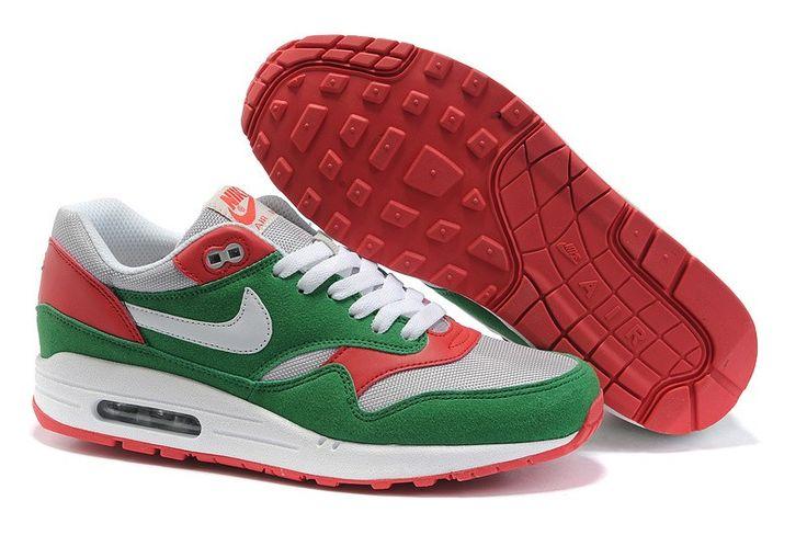 Air Max 1 Essential Vrouwen groen rood en wit schoenen,Goedkope Nike Air Max 1 Essential Dames