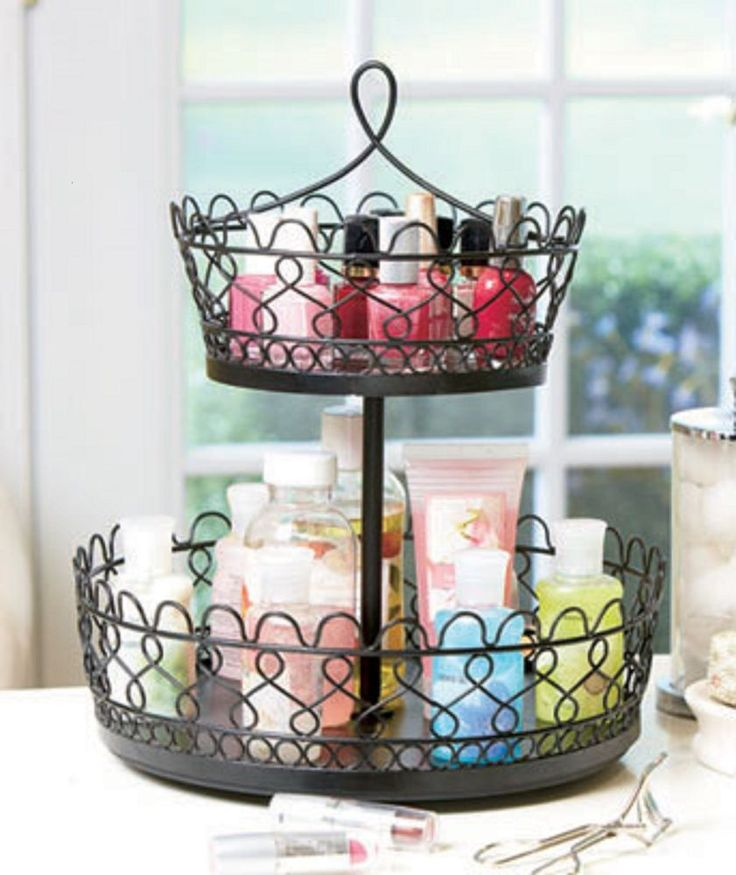 Rotating 2 tier makeup cosmetic caddy jewelry kitchen for Bathroom jewelry holder