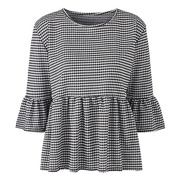 Simply Be Gingham Peplum Blouse | SimplyBe US Site ($40) ❤ liked on Polyvore featuring tops, blouses, gingham blouse, peplum blouse, gingham top and peplum tops