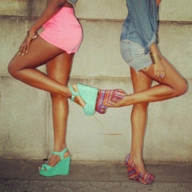 Shoes: Pink Shorts, Best Friends, Friends Pictures, Bestfriends, Cute Wedges, Summer Pictures, Friends Pics, Mint Wedges, Summer Wedges