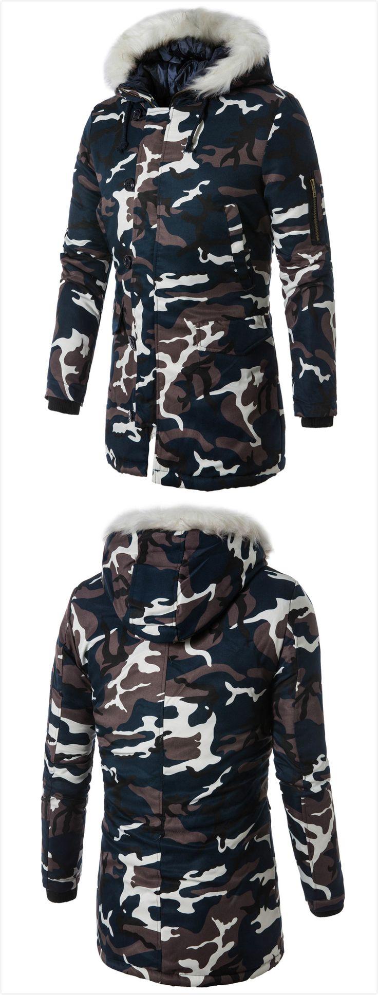 Zip Up Camo Faux Fur Hooded Coat,sammydress,sammydress.com